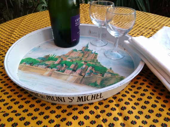 French Bistrot Tray from Mont Saint Michel Vintage Enamel Toleware Restaurant French Café Bistrot tray #sophieladydeparis