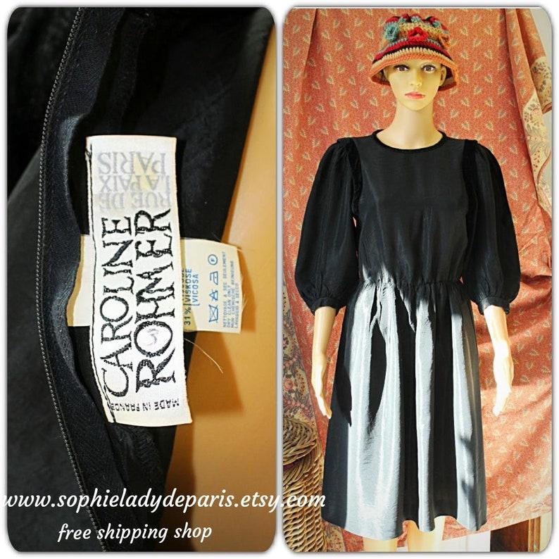 Vintage Caroline Rohmer Black Taffeta Princess Shape French image 0
