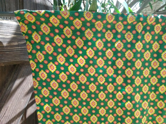 Green Curtain Diamond Provence Fabric Curtain Vintage Home Decor French Cotton Valance Sewing Project #sophieladydeparis