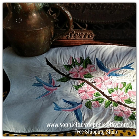 White French Linen Runner Pink and Blue Birds Flowers Hand Embroidered Flowers  #sophieladydeparis