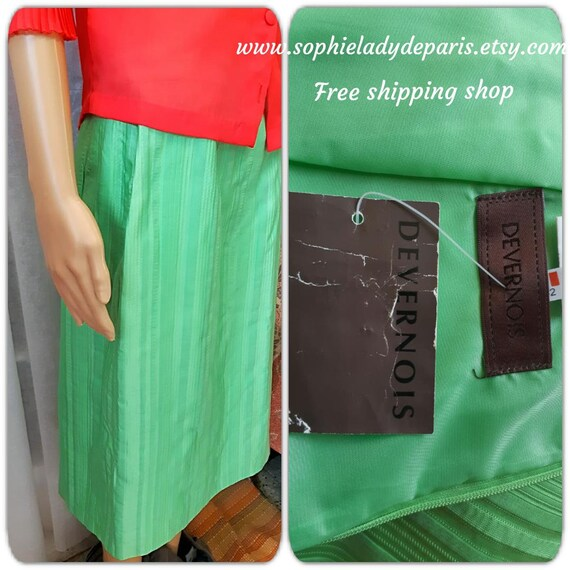 Vintage Devernois Skirt Green Apple New NOS Ribbed Fabric French Designer Medium Large #sophieladydeparis