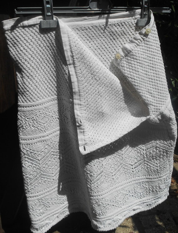 Rustic Victorian Skirt Hand Crocheted White French Country Side Cotton Scalloped Bottom Handmade Costume Clothing #sophieladydeparis