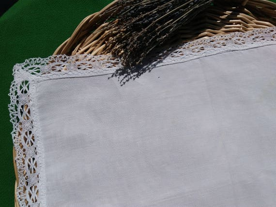 Antique Rectangle Doily 1930 French White Linen Lace Trim French Handmade Table Center #sophieladydeparis