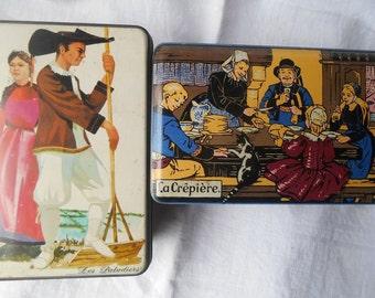 2 Vintage Brittany Folk French Crepes and Cookies Tin Boxes French Scriptures Saint Michel La Crêpière #sophieladydeparis
