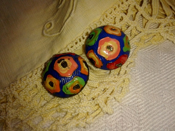 Antique Hand Painted Buttons Metallic German Made Signed Dom Shape Blue with Green Orange Red Pink Yellow #sophieladydeparis