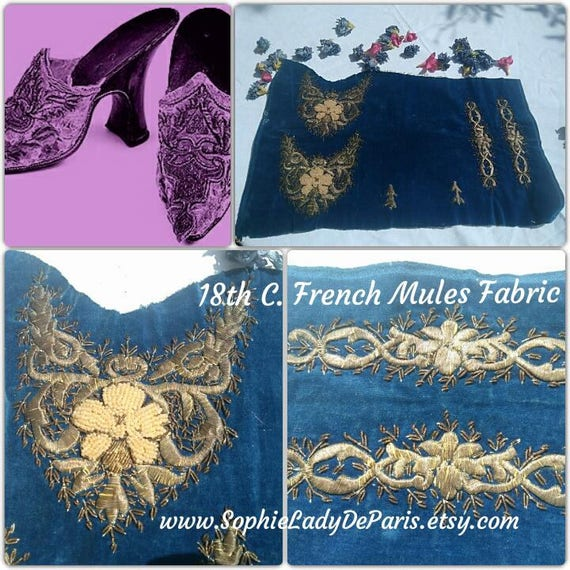 Rare 18 th C. Lady Mules Fabric Antique French Shoe Textile Blue Velvet Gold Thread Pearl Embroidered Collectible Museum #sophieladydeparis