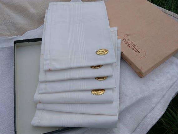 6 Unused Handkerchiefs Large White Cotton Men's Tissues in Box Mid-century Tissgar Tag French Tissue Pocket Square  #sophieladydeparis