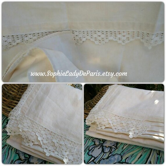 Flat Sheet Thick French Toile Metis 19th Fabric Hand Crochet Lace Trim Off White Tablecloth Upholstery Curtain Bed Cover #sophieladydeparis