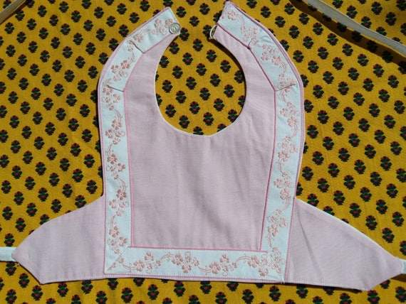 Vintage Bib Pink Baby Linen French Cotton Lined Baby Accessory #sophieladydeparis