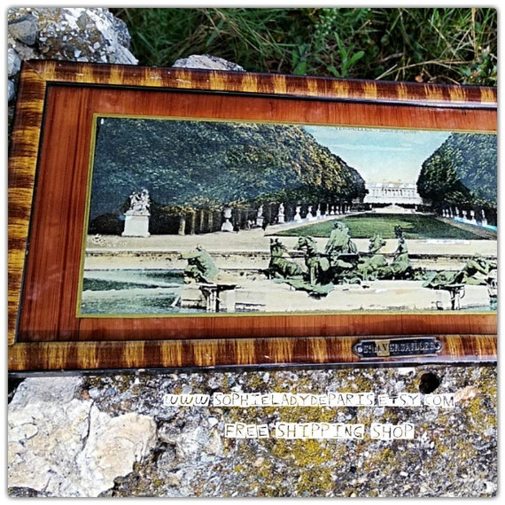1920's Fountain of Apollo Paris Souvenir Versailles Castle Photo Framed MOP decor Glass Protected Collectible #sophieladydeparis