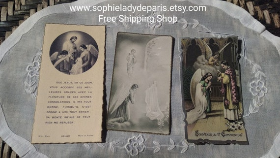 3 Antique Cards with Angels 1940's French Communion Cards Paris Printed 1941 -1943 -1944 #sophieladydeparis