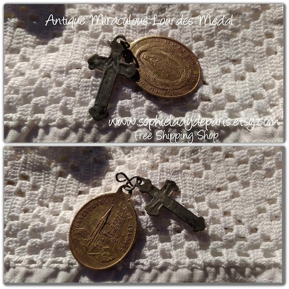 19th Miraculous Medal & Crucifix Lourdes Antique French Charms Virgin Mary Crucifix #sophieladydeparis