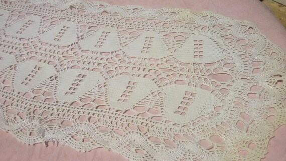 Victorian Hand Crocheted Lace Table Center Antique French Handmade Cotton Runner #sophieladydeparis