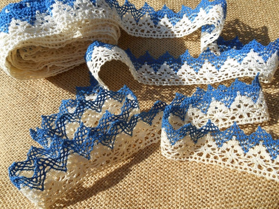 4 Yards Lace Victorian Blue White Bobbin Lace Braid French 1900's Cotton Handmade Provence Mediterranean Blue Braid #sophieladydeparis