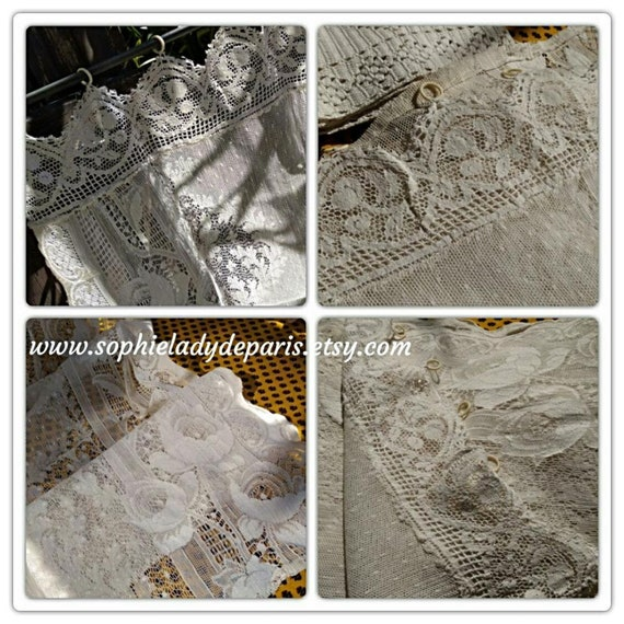 Filet Curtain White French Floral Net Lace Curtain Cotton Panel #sophieladydeparis