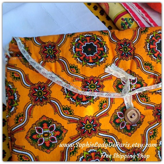 Provence Fabric Case Orange Provence Cotton Padded Bag Lace Trim Handmade Pouch Lingerie bag Ipad Case Cosmetic Case #sophieladydeparis