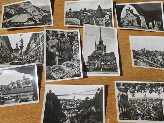 Churches Photos 1939 Swiss Suchard Chocolate 10 Black White Bromide Photos Serie XXIII showing Bern, Freibourg, Church #sophieladydeparis