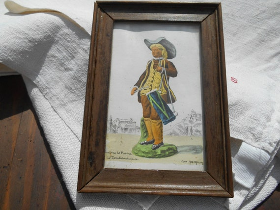 Pastoral Musician Print Le Tambourinaire Drummer Vintage 50's French Provence Santon Watercolor Wood Frame #sophieladydeparis