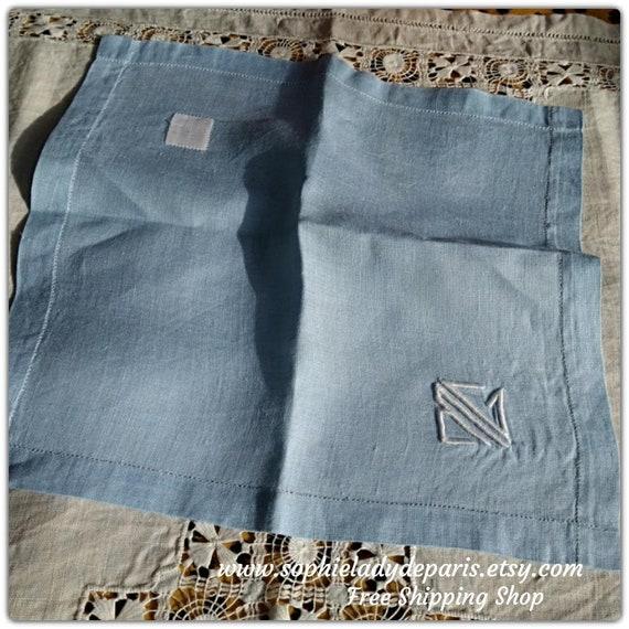 Blue Handkerchief Antique Linen Tissue French Hanky White Monogram Pocket Square #sophieladydeparis