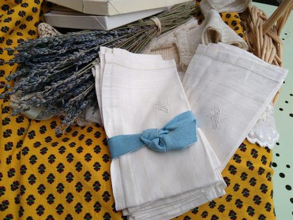 6 Unused Handkerchiefs Mid-century White Men's Linen Monogram French Fabric Tissue Pocket Square #sophieladydeparis