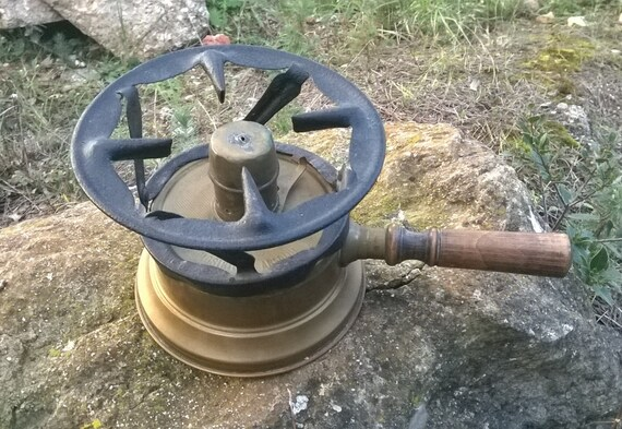 Antique French Alcohol Burner Wick Wrought Iron grid Brass Made Wood handle Antique French Industrial Home Decor #SophieLadyDeParis