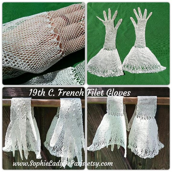Long Gloves Antique 19th Century French Filet Lace Gloves White Net Cotton Size Small 6/6.5  Collectible #sophieladydeparis