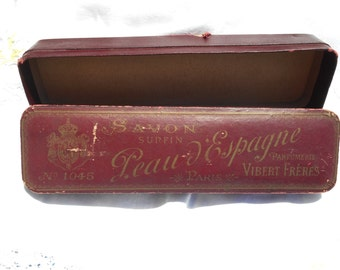 Rare Antique 1900's Art Nouveau Burgundy Soap Box Peau d'Espagne Parfumerie Vibert Frères Paris N. 1045  Red Collectible #sophieladydeparis