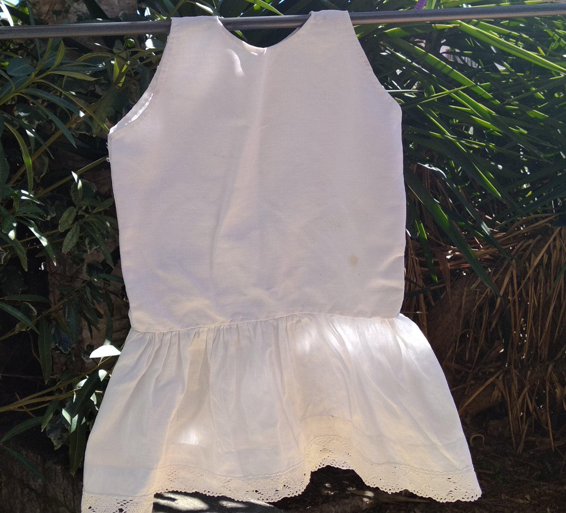 4a8227dd0b65 Antique Slip French Girl Under Dress Slip White Hemp and Cotton ...