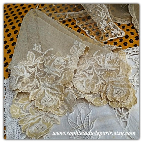 Large Handkerchief French Tissue 19th French Bride  Handmade Beige Tulle Cotton Roses Hand Embroidered #sophieladydeparis