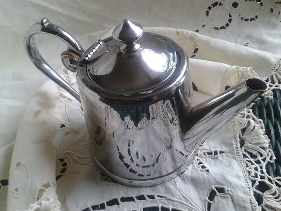 Art Nouveau 1900's Tea pot French Goldsmith Signed Morlot Polished Pewter Signed Marks Numbered #SophieLadyDeParis