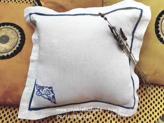 Antique Linen Pillowcase Small Pillow Case Blue Embroideries Ladder Work 1900's French Linen #sophieladydeparis