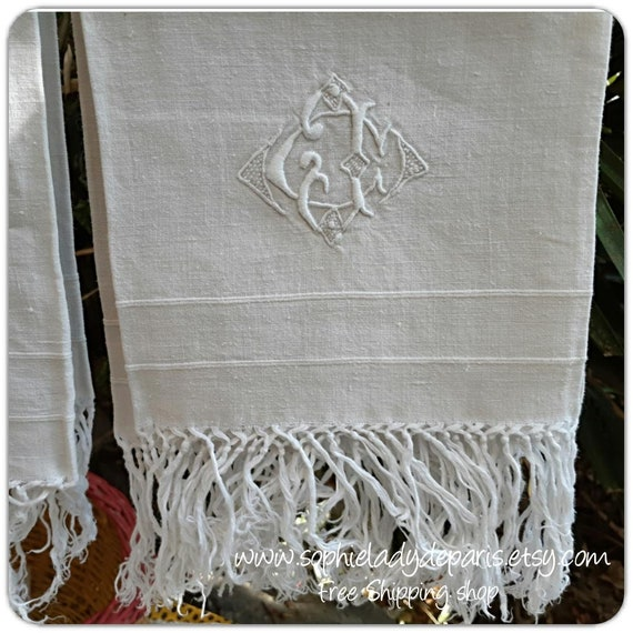 Antique white bath Towel French Linen Fringed Towel b #sophieladydeparis
