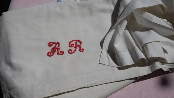 Victorian Flat Sheet Red Monogram French Handmade White Cotton 1 Pers bedding #sophieladydeparis