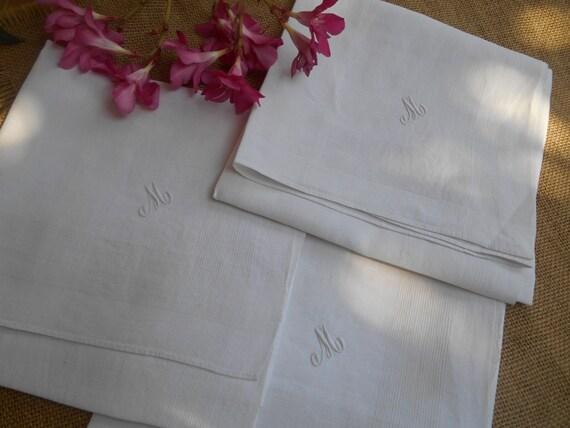 "3 Handkerchiefs Victorian White Linen Men's Tissues  Large ""M""  Monogrammed French Tissues Pocket Squares #sophieladydeparis"