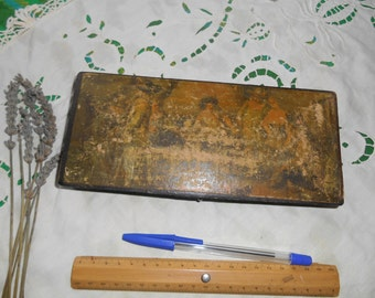 Victorian French Pencil Case Black Lacquered Wood Box Handmade Renaissance Painting Reproduction on the Front sophieladydeparis