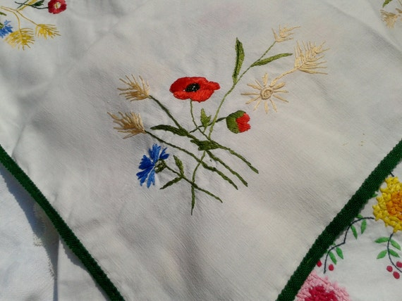 White Tea Tablecloth Red Poppy Ear of Wheat Handmade and Hand Embroidered #sophieladydeparis