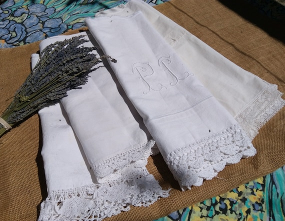 Antique French Fabric Lot White Cotton and Linen lace Trim Victorian Fabrics for Sewing Projects #sophieladydeparis