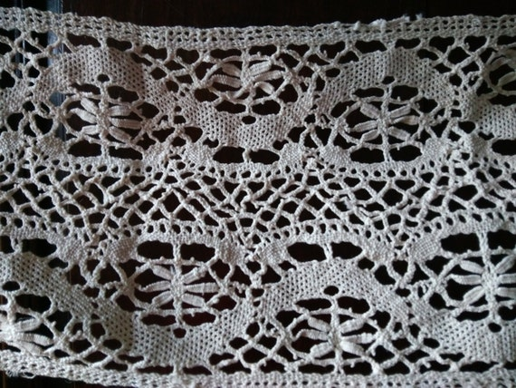 Large Victorian Shelf Edging or Valance Home Decor Crocheted Lace Off White Cotton French Handmade #sophieladydeparis