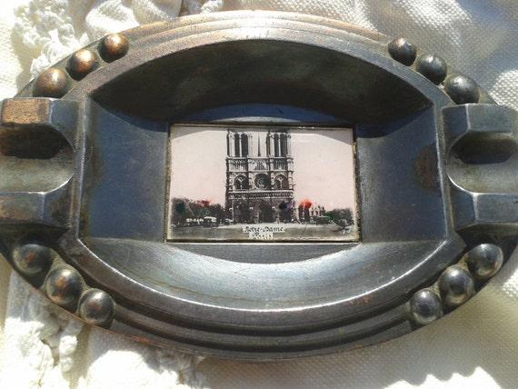 Paris Souvenir Art Deco 1920's Notre Dame de Paris Photo Ashtray Black and White Photo Cathedral Glass Protected #sophieladydeparis