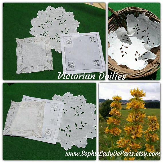 3 Victorian Doilies Small White French Table Center Handmade with Cutouts embroidered #sophieladydeparis
