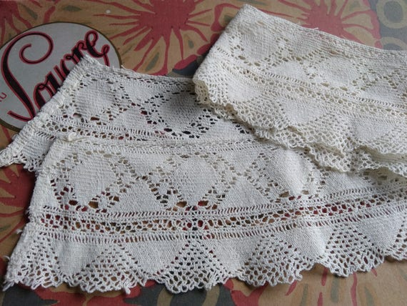 Antique French Lace Rounded Off White Cotton French Haberdashery Sewing Project Collar Supply #sophieladydeparis