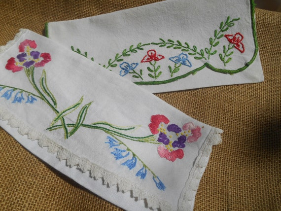 2 Victorian Napkin Cases Hand Embroidered French Handmade White Pouch Floral Flowers #sophieladydeparis