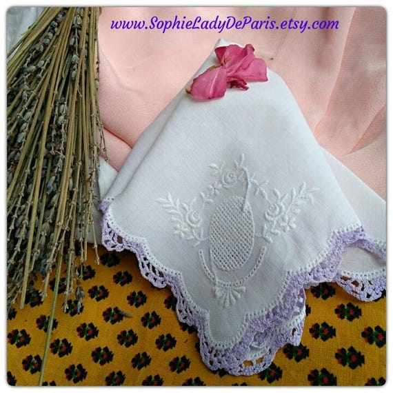 Vintage Handkerchief Embroidered White Linen Purple Lace Trim French Fabric Tissue Pocket Square Unused #sophieladydeparis