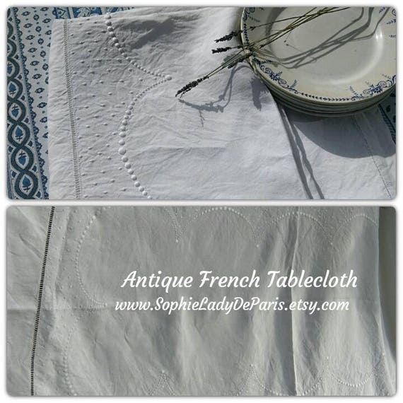 "Long Tablecloth White Antique French Metis Linen  Semi Circles Dots Hand Embroidered 90"" #sophieladydeparis"