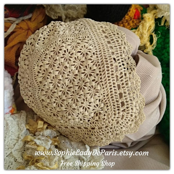 Baby Bonnet Beige Hand Crocheted French Lace Hat New Born or Doll Cotton Hat #sophieladydeparis