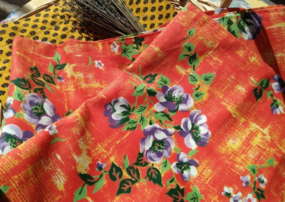 60's Floral Orange Fabric Unused Purple Flowers French Cotton Fabric Home Decor Sewing Project NOS #sophieladydeparis