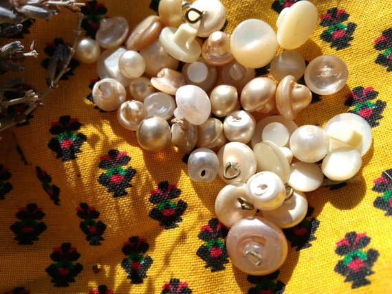 "Antique ""Pearl"" Buttons French White  36 Bead Shank Buttons #sophieladydeparis"