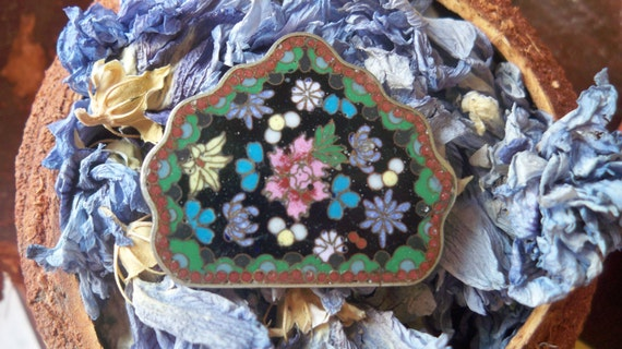 Antique Buckle Art nouveau 1900's Floral Micro Mosaic Sterling Silver #SophieLadyDeParis