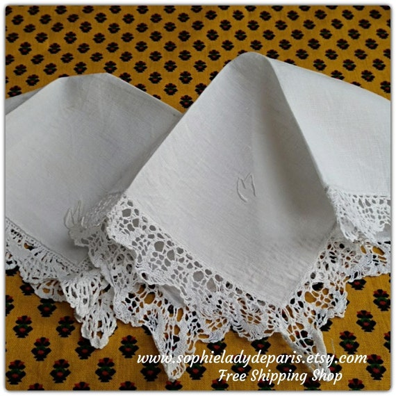 "2 White Bride Handkerchiefs ""M"" Monogram Handmade French Linen Tissue Bobbin Lace Trim #sophieladydeparis"