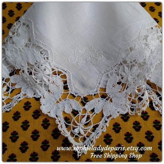 Bride Handkerchief Gabrielle Monogram Handmade White French Cotton Tissue Bobbin Lace Trim #sophieladydeparis